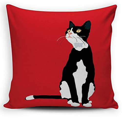 LilyNa Barry Dekorativer Kissenbezug mit Katzenmotiv, Schwarz und Weiß, 45,7 x 45,7 cm -
