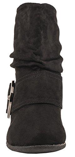 Elara Damen Schlupf Stiefel | Gefütterte Schnallen Boots | Bequeme Stiefeletten| chunkyrayan Schwarz Wildleder
