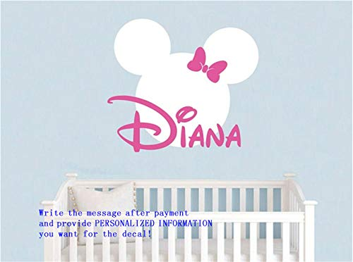 wandaufkleber babyzimmer junge Personalisierter Babyname und Minnie Mouse für Kinderzimmer oder Schlafzimmer