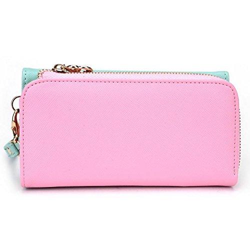 Kroo d'embrayage portefeuille avec dragonne et sangle bandoulière pour Oppo Miroir 3/Neo 5 Multicolore - Noir/rouge Multicolore - Green and Pink