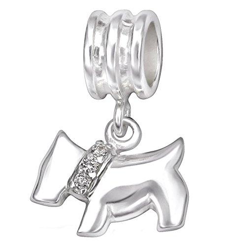 So Chic Gioielli - Charm Pendente Cane Scottish Terrier Collare Incastonato con Ossido di Zirconio Bianco Argento Sterling 925/000 - Compatible con Pandora, Trollbeads, Chamilia, Biagi