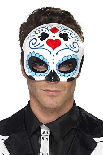 Toten Tag Der Kostüm Halben - Smiffys Herren Tag der Toten Halbe Augenmaske, One Size, Blue, 44648