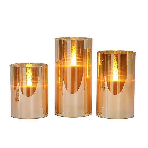 Gold flammenlose Kerzen im Glas, 3 Glaswindlichter mit 24-Stunden-Timer, warmweiße flackernde Licht mit Batterien enthalten