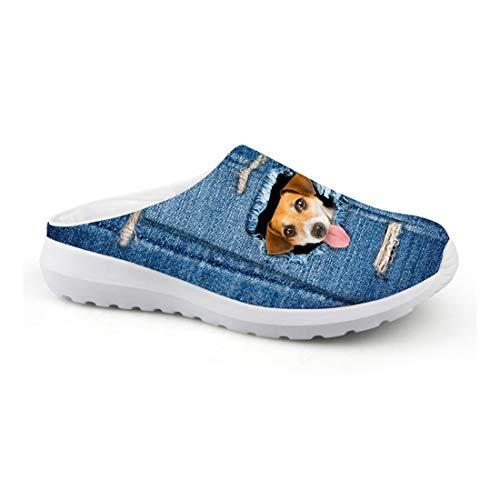 Wrail Herrn Damen Clogs Pantoletten Hausschuhe 3D Print Hund Atmungsaktiv Hausschuhe Freizeit Outdoor Schuhe Gartenscuhe rutschfest Blau EU 39 -