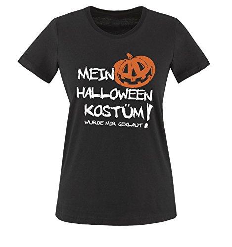 Comedy Shirts - MEIN HALLOWEEN KOSTÜM WURDE MIR GEKLAUT KÜRBIS - Damen T-Shirt Schwarz / Weiss-Orange Gr. (2 Jungs Halloween College Kostüme)