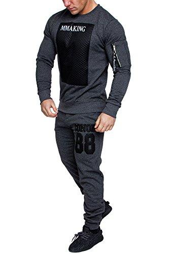 Amaci&Sons Camouflage Herren Sportanzug Jogginganzug Trainingsanzug Sporthose+Hoodie 1011 Anthrazit L