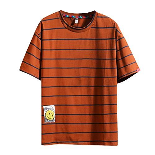 Streifen T-Shirts für Herren, Skxinn Männer Casual Drucken Tees Shirt Kurzarm T-Shirt Große Größe Sweatshirts Basic Rundkragen Shirt M-5XL Ausverkauf(Kaffee,XX-Large)