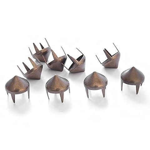 9mm Ohrstecker Kegel Nieten Krallen Messing Punk Spikes Metall für Tasche, Jeans, Kleidung oder Leder Basteln hoch Membran von Hochzeit Decor, metall, bronze, 100 Stück