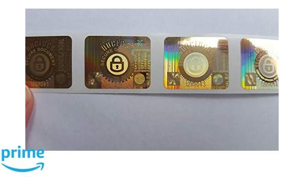 Hologrammetiketten f/ür Doclock Dokumentensiegel Tamper Evident x 1000 Sicherheitsaufkleber Void mit nicht wiederholbarer Seriennummer pro Etikett in Goldfolie Etiketten Siegel Aufkleber.