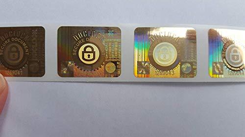 Hologrammetiketten für Doclock Dokumentensiegel Tamper Evident x 1000 Sicherheitsaufkleber 'Void' mit nicht wiederholbarer Seriennummer pro Etikett in Goldfolie. Etiketten Siegel Aufkleber.