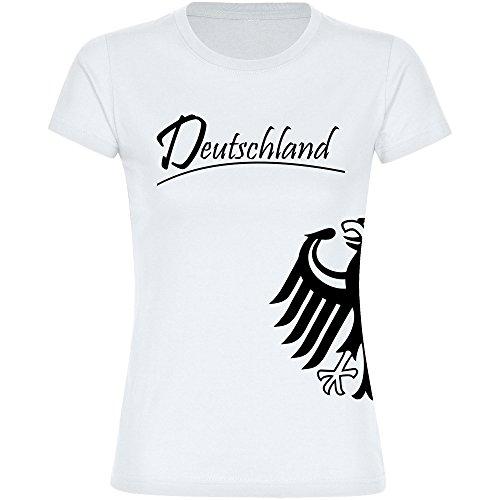 T-Shirt Deutschland Trikot Adler Seitlich Damen Weiß Gr. S - 2XL - Fanshirt Fanartikel Fanshop Fußball Weltmeisterschaft WM 2018 Russland, Größe:M