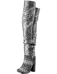 d1651b1941e07 Spylovebuy ALLIGOTA Femmes Mollet Large à Talon Bloc Bottes Cuissardes