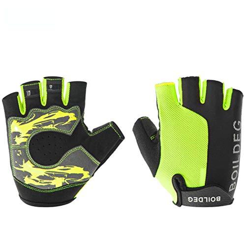 MISS&YG Radhandschuhe im Außenklettern atmungsbeständig stoßfeste Stoßdämpfungsfitness Handschuhe mit halbem Finger,Green,XL