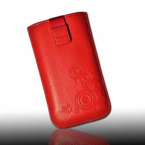 sw-mobile-shop Handy Tasche Case Hülle Dekotasche aus Kunstleder in rot mit Zugband - Design circle für Huawei Ascend G330 / ZTE Grand X IN / ZTE Grand X / LG Optimus 3D P720 / LG Optimus L7 P700 / LG Prada phone by LG 3.0 / LG E610 Optimus L5 / Motorola Razr i XT890 / Nokia Lumia 820