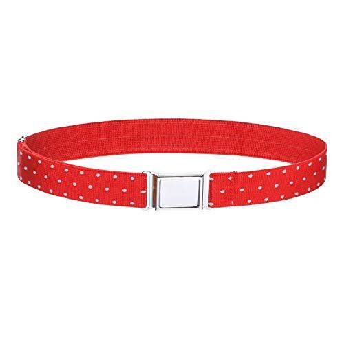 Kajeer Gürtel für Jungen Mädchen Verstellbar - Großer Elastischer Stretchgürtel mit einfacher Magnetschnalle für 2-15 jährige Jungen und Mädchen (Rot - weißer Tupfen) - Hosenträger Kinder Für Große