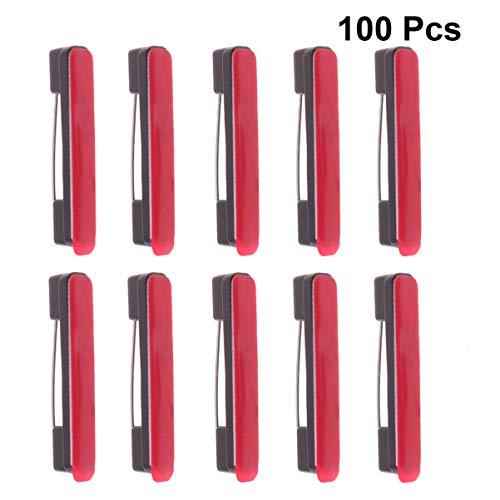 HEALLILY Sicherheitsnadeln selbstklebende Rückseite Brosche Pins Abzeichen für ID-Abzeichen Namensschilder Bänder und basteln 100 Stück (schwarz Größe l)