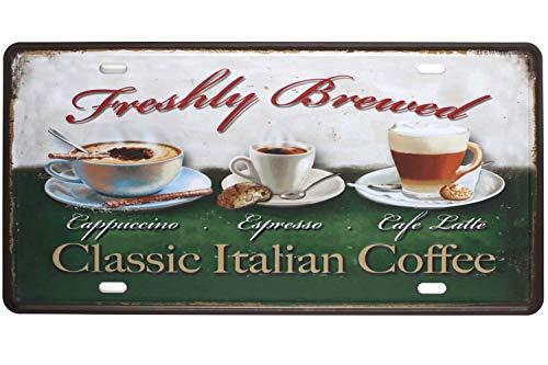SIGNCHAT Klassisches Metallblechschild, Italienischer Kaffee, Cappuccino, Espresso, Cafe, Laterne, Vintage-Design, 20,3 x 30,5 cm