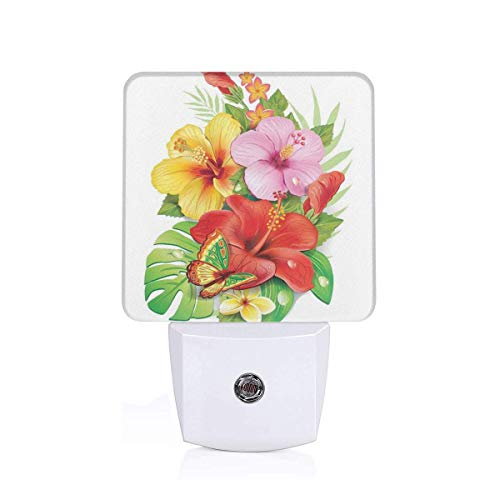 Bouquet Of Colorful Hibiscus Flowers With A Butterfly Blooming Plumeria Petals Plug-in LED Night Light Lamp with Dusk to Dawn Sensor, Night Home Decor Bed Lamp Hibiscus Night Light