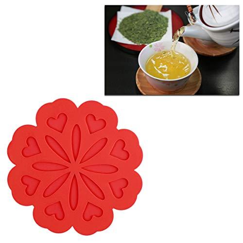 BESTONZON 4 Stück hitzebeständige Pads Silikon Mehrzweck Blumen Form Anti-Rutsch Hot Pads Untersetzer Isoliermatten für Restaurant Zuhause