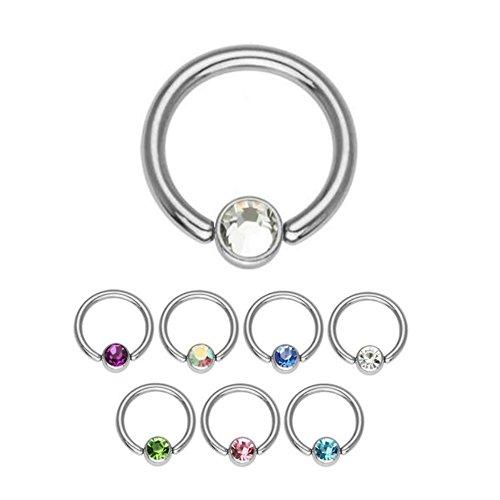 Cristallo piercing ad anello, con sfera 1,2mm–7colori–bcr (ball closure ring)–anello di bloccaggio in acciaio chirurgico in argento (acciaio inox) con pietre in cristallo, [02.] - crystal