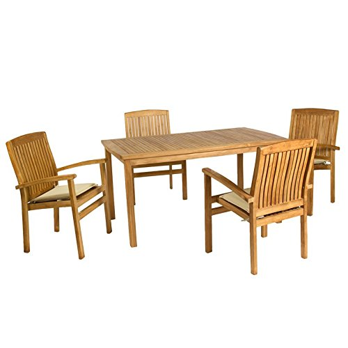 Colonial Chic Maison Table en Teck avec 4 Fauteuil Marron