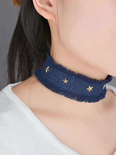 aukmla Fashion Gargantilla con poco estrellas, hecho a mano tela vaquera collar para las mujeres y las niñas
