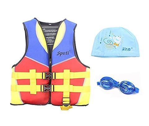 genwiss enfants de bain vie Veste Jaune 3–8ans les lunettes de natation et bonnet de natation petit Jaune - jaune