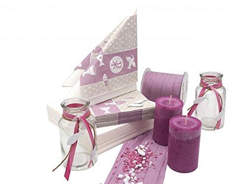 Unbekannt Tischdeko Kommunion Konfirmation Mauve Lila Symbole Vasen SET 20 Personen