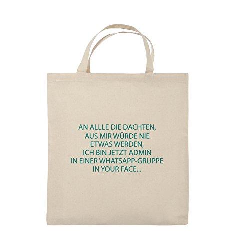 Comedy Bags - ADMIN WHATSAPP GRUPPE - Jutebeutel - kurze Henkel - 38x42cm - Farbe: Schwarz / Silber Natural / Türkis
