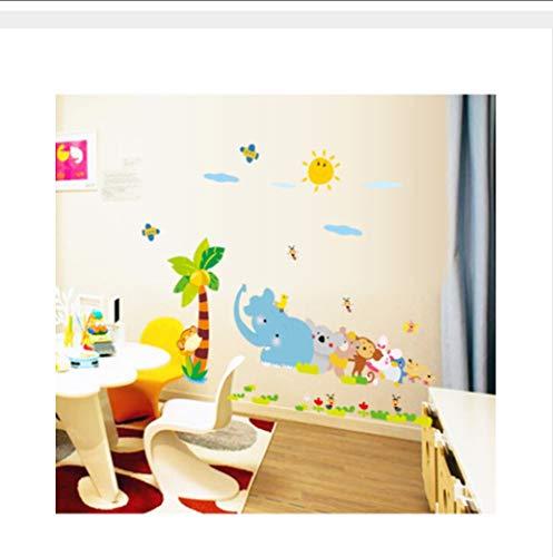(Yirenfeng Kindergarten schule klassenzimmer kokospalme cartoon tiere elefanten affen bienen kinderzimmer wandaufkleber)
