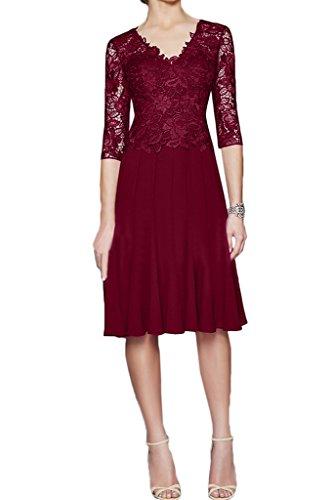 Ivydressing Damen Elegant Halb Aermel Spitze&Chiffon A-Linie Promkleid Mutterkleid Festkleid Abendkleid Weinrot