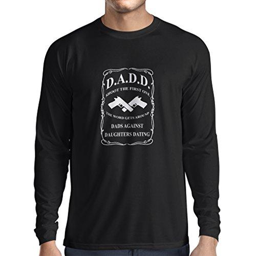 lepni.me T-Shirt Manches Longues Homme Les Papas Contre Les Filles Qui sortent Ensemble ! Humour Fête des Pères Cadeau (Small Noir Blanc)