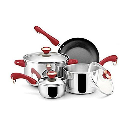 Paula Deen Stainless Steel Red Handle 7-piece Cookware Set by Paula Deen
