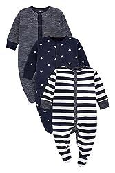 next Baby Jungen Schlafanzüge Streifenmuster/Sternenmuster 3Er Pack (0 Monate Bis 2Jahre) Marienblau/Weiß 9-12 Monate