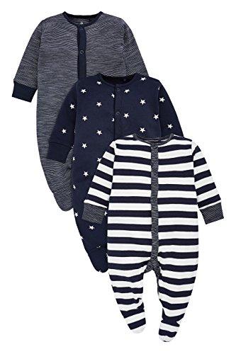 next Baby Jungen Schlafanzüge Streifenmuster/Sternenmuster 3Er Pack (0 Monate Bis 2Jahre) Marienblau/Weiß Neugeborene - Jungen 3 Stück Schlafanzüge