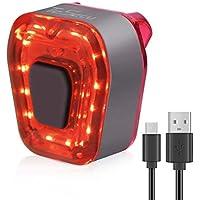 TESECU Luz Trasera de Bicicleta Inteligente Recargable USB, Super Brillante Rojo Luz LED Bici, Impermeable, Faro Trasero Bici para Máxima Seguridad de Ciclismo