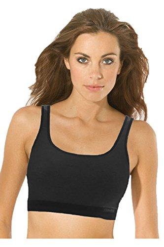 Sport BH Edition Fitness Damen Bustier Unterwäsche 100% Bio Baumwolle Farbe schwarz Größen 38-46 Größe 44 (Größe 40 Sport-bh)