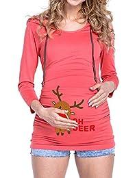 MYMYG Weihnachten Mutterschaft Pflege Tops Frauen Langarm Mutterschaft Layered Nursing Tops zum Stillen Bouse Schwangere Kapuzen Bluse Pflege Top Stillen Bluse Kleidung