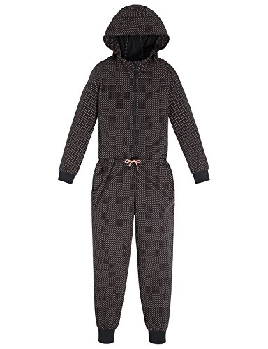 Schiesser Mädchen Einteiliger Schlafanzug Mix & Relax Jumpsuit, Grau (Anthrazit 203), 164 (Herstellergröße: M)
