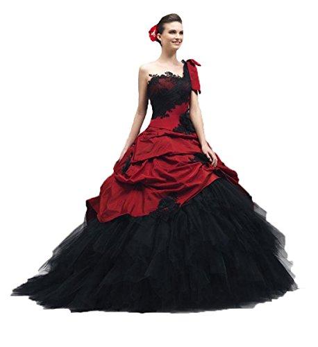 O.D.W Schwarz Rot Lange Vintage Brautkleider Damen Gotisch Hochzeitskleider(Schwarz+Rot, 38)
