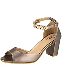 45d7ac5983b JKING Footwear 3inch Heel Synthetic Leather Grey Casual Party Formal  Comfortable Ankle Strap Buckle Closure Block