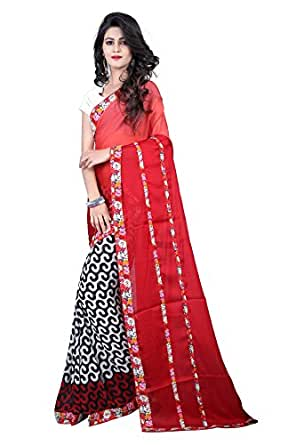 Glory Sarees Women's Georgette Saree(vn30_red)