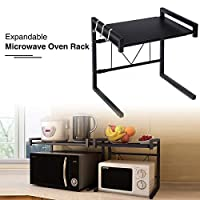 """GEMITTO Extendable Microwave Oven Rack Heavy Load Microwave Shelf Stand with 3 Hanging Hooks Kitchen Storage Organiser Black 15.75""""-23.62""""x14.17""""x16.54"""""""
