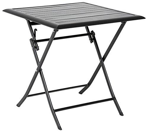 Table pliante carrée en Aluminium coloris noir - Dim : L71cm x P71cm x H71cm - PEGANE -