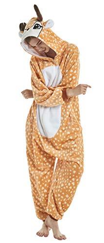 (FunnyCos Erwachsene Strampelanzug Tier Pyjama Unisex Halloween Cosplay Kostüm Verrücktes Kleid Loungewear Hirsch L)