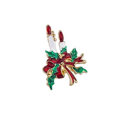 LUX Zubehör Urlaub Weihnachten rot weiß grün Kerze Schleife Brosche Pin