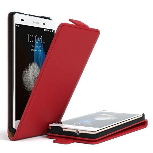 Huawei P8 Lite (2015) Hülle - EAZY CASE Premium Flip Case Handyhülle - Schutzhülle in Braun Rot (Flip)