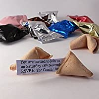 300 Personalised Fortune Cookies - upto 5 different messages inside written by yourself. Unique Promotional Products.