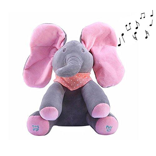 Juguete de Peluche Elefante,niceEshop(TM) Cantando Canciones y Animated Elephant Ears Esconder y Buscar Juego Peluche Peluche Muñeca Juguete,Rosa Gris