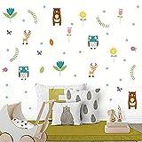 JHping Wandsticker Jhping Cartoon Tier Und Pflanze Thema Wandkunst Kinderzimmer Kindergarten Abziehbilder Dekoration Bunte Aufkleber Wasserdicht Hochwertige Wandaufkleber